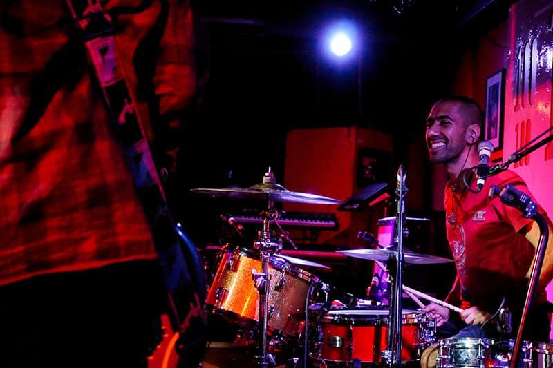 drummer Az Khan playing live