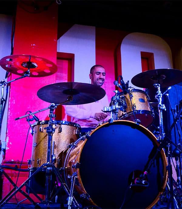 Stoke Newington drum teacher Az Khan playing live