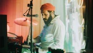 East Finchley drum teacher PJ Ciarla playing live
